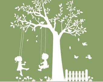 Nursery Swing Tree, Kids Swinging Tree, Picket Fence Decal Art, Modern Nursery Wall Art, Kids Nursery Room Decals, Vinyl Wall Art