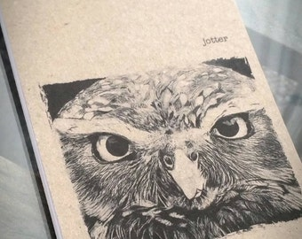 Owl Drawing Notebook, Notepad, Jotter, Pocket Notebook, great Owl Gift, features Owl Print, Owl Picture, Owl Art