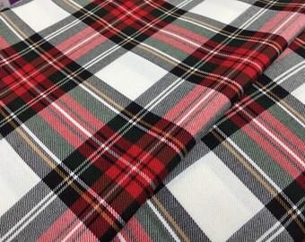 "New Red & white dress tartan viscose 58"" wide sold per metre"