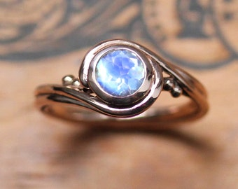 Rose gold moonstone ring rose gold, unique engagement ring, rainbow moonstone engagement ring, artisan rings, Pirouette ring, custom made