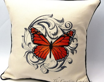monarch butterfly decorative throw pillow case nature inspired butterfly lover's gift lepidopterist