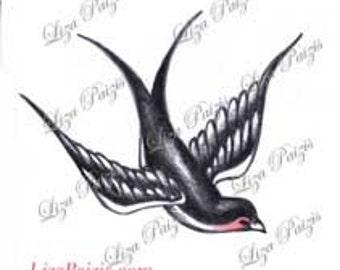 Traditiona style swallow tattoo old school Swallow bird tattoo design by Liza Paizis