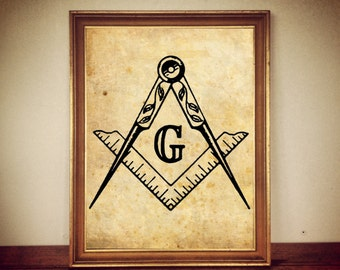 """MASONIC  Square and Compasses SYMBOL MASONS """"g""""  letter antique print illustration poster home decor alchemy magick hermetism occult #72"""