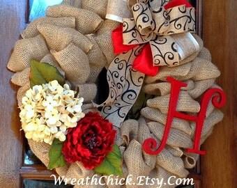 Door wreath, Burlap wreath, French Country wreath, Monogram wreath, Spring wreath, Summer wreath, Initial Wreath, Valentines Day wreath
