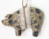 Handmade Primitive Shabby Chic Cottage Style Civil War Fabric Pig Ornament, Floral Pig, Blue Roses
