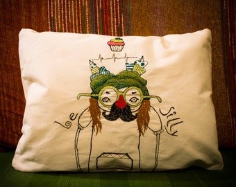 Stitch drawing - Decorative Embroidered pillow -  Artistic home decoration - 100% cotton canvas *Be silly* - Modern Embroidery