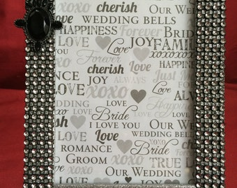 Black and silver embellished picture frame