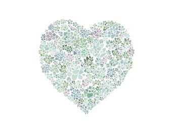 SALE: Succulent Heart Watercolor Print 11x14
