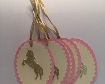 Unicorn Thank You , Favor Tags, Pink And Gold Unicorn Tags, Gold And Pink Favor Tags, Thank You Tags