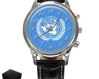 United Nations Un Flag Gents Mens Wrist Watch  Gift,engraving