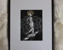 Death, Original Ink Drawing, Framed Art