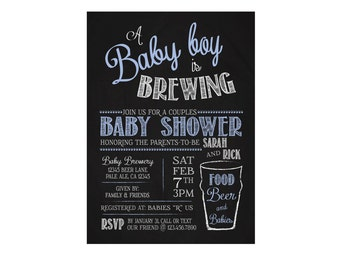 Baby brewing baby shower invitation - Beer themed