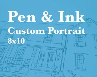 Custom Pen & Ink House Portrait