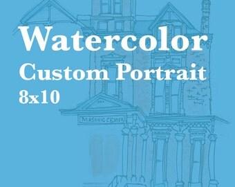 Custom Watercolor & Ink House Portrait