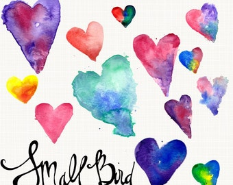 Digital Watercolor Hearts, Perfect for blog designers and web design, Clip art, PU, CU and B4H Friendly, Instant Download