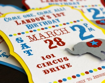 HANDMADE Circus Invitation, Carnival Invitation, Birthday or Baby Shower