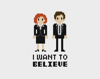 """The X-Files """"I Want to Believe"""" Cross Stitch Pattern PDF Instant Download"""