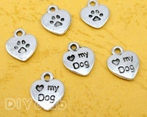 80pcs of Antique Tibetan silver Love my dog charms pendants, Heart, Dog paw charms  12x10mm
