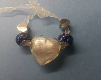 5pc Heart and Metal Large Holed Beads