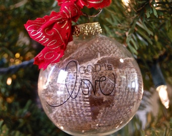 Glass Ornament with Burlap and Sentiment