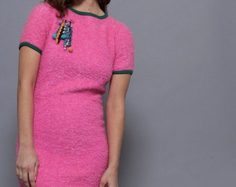 60's Pink Boucle Wool Shortsleeve Dress With green Trim