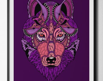 Run with Wolves digital print from an original hand drawn illustration