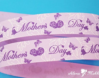 5 yards 7/8'' Mother's Day Mother Mom Lavender Printed Grosgrain Ribbon