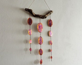 Handmade driftwood and enameled copper mobile - Wall Hanging Home Decoration