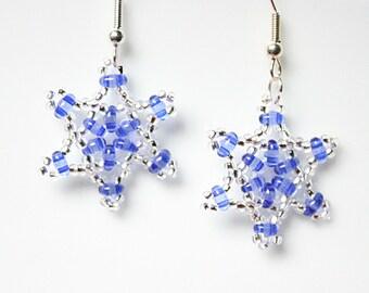 Dark blue beaded snowflake earrings, Blue and clear bead dangle earrings, Winter jewellery, UK seller