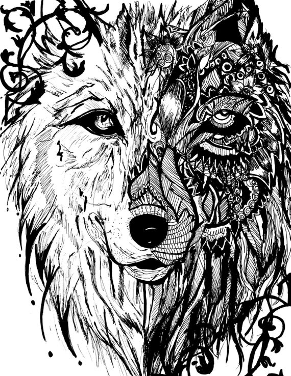 Items similar to Detailed Zentangle Mandala Tribal Wolf ...