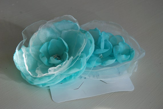 Aqua chiffon hair comb for bridal or prom; Wedding hair; Bridal hair accessory; Prom hair accessory