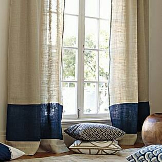 Serena Lily Love The Burlap Look Of The: 2, Panels/ Two Tone Stylish Dreamy Look Natural And Navy