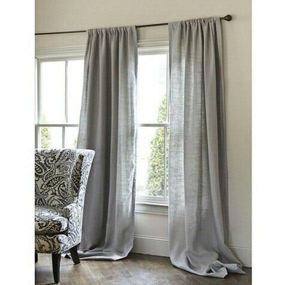 Pair Of Gray Burlap Curtains By Zahrazart On Etsy