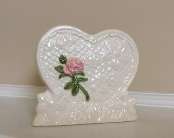 Pretty White Heart Shape Planter with a Single Pink Raised  Rose, Reliable.
