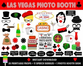 PRINTABLE Las Vegas Photo Booth Props–Photo Booth Sign-Printable Vegas, Casino, Poker Props-Las Vegas Photo Props-Instant Download
