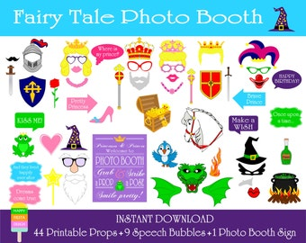 PRINTABLE Fairy Tale Photo Booth Props–Photo Booth Sign-Printable Prince,King,Wizard,Witch-Fairy Tale Props-Printable PDF-Instant Download