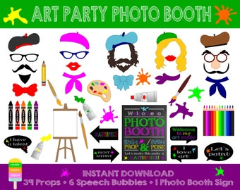 PRINTABLE Artist Photo Booth Props-Photo Booth Sign-Art Party,Painter,Artist Photo Booth Props-Artist Props Printable-Instant Download