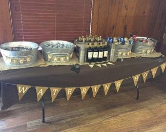 Watering Hole Wood Banner/Beverage Banner/Drink Banner/Wood Pennants/Custom Wood Banner