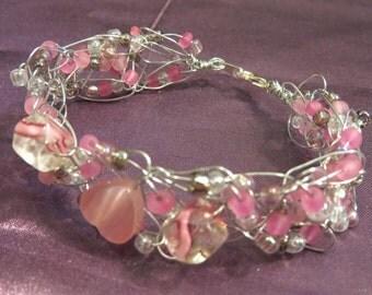 Pink Hearts Crocheted Metal Bracelet