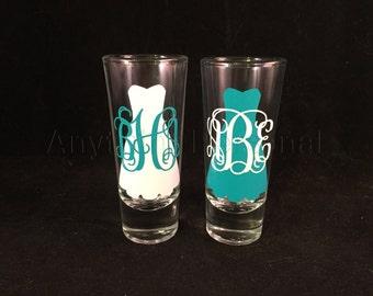 Personalized Shot Glass, Monogram Shot Glass, Bridal Glass, Bridesmaid Glass, Bridal Party Gift, Shot Glass, Monogram Gift, Bachelorette