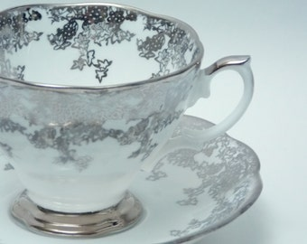 Royal Albert Fine Bone China Tea Cup and Saucer Made in England Silver Grapes Leaves Trim