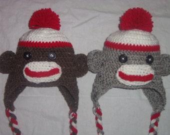 Crocheted Sock Monkey Hat