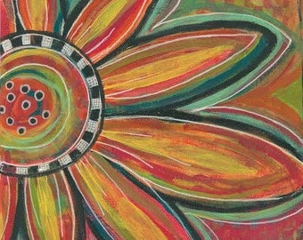 boho flower wall art, bohemian flower art, colorful flower wall art, gypsy flower wall decor, boho floral wall decor, sunflower art decor