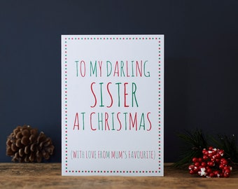 Darling Sister Christmas card