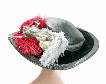 Edwardian Widebrim Straw  Hat c1910  . Edwardian Widebrim Hat . Edwardian Hat . Edwardian .