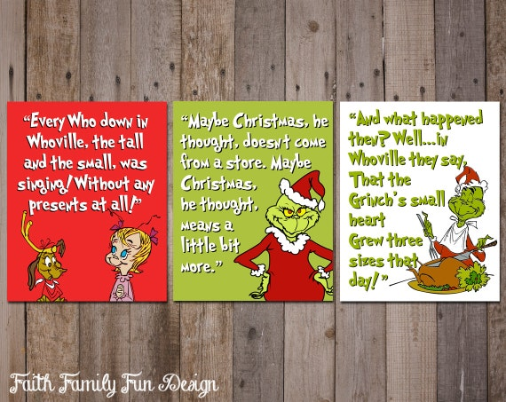 The Grinch Who Stole Christmas INSTANT DOWNLOADS. Family Christmas ...
