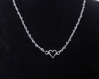 Sterling Heart Necklace,  Heart Necklace,  Silver Heart Necklace
