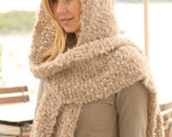 Hand Knitted Hooded Scarf