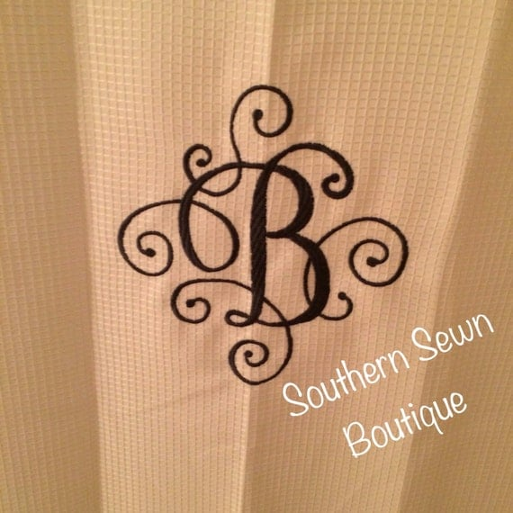 Scroll Monogrammed Shower Curtain 70x72