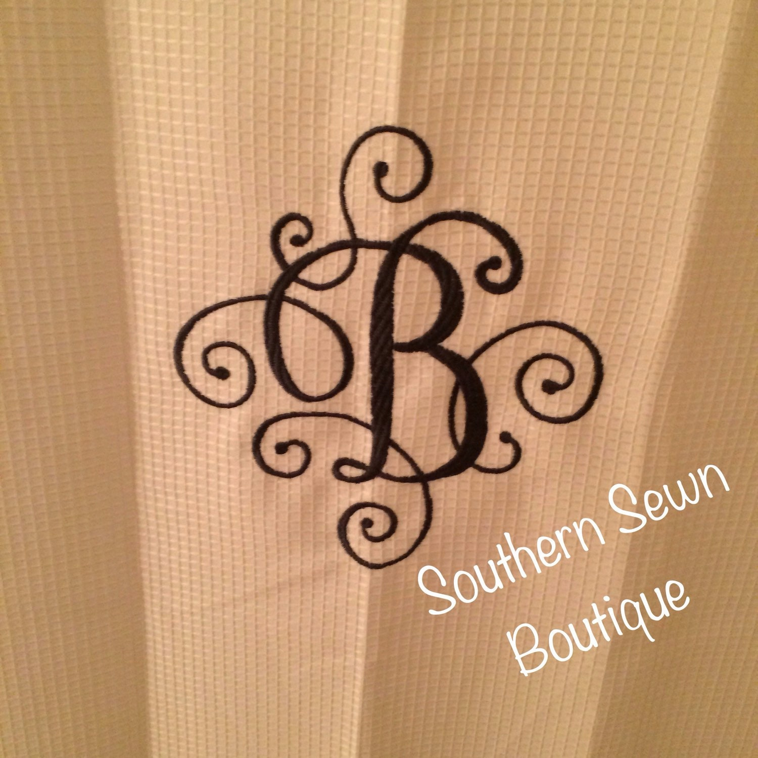 scroll monogrammed shower curtain 72x84